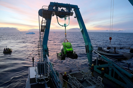 Picture shows: The Blue Planet II team were the first humans ever to dive to a depth of a thousand metres in Antarctica. It took two years to plan the five week expedition and three days to cross the forbidding Drake Passage from the tip of South America to reach the Antarctic Peninsula.