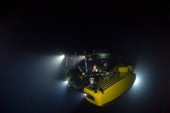 Picture shows: The three-man submersible 'Nadir'. The Blue Planet II team worked with several submarines to film the Deep episode, spending a thousand hours in them across the world's deep oceans to capture landscapes and behaviours never seen before.
