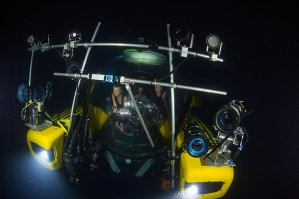 Picture shows: MAKING OF - The Blue Planet II team in the submersible 'Nadir', capable of reaching depths of 1,000 metres. Over two years, the team spent a thousand hours in submersibles around the world.